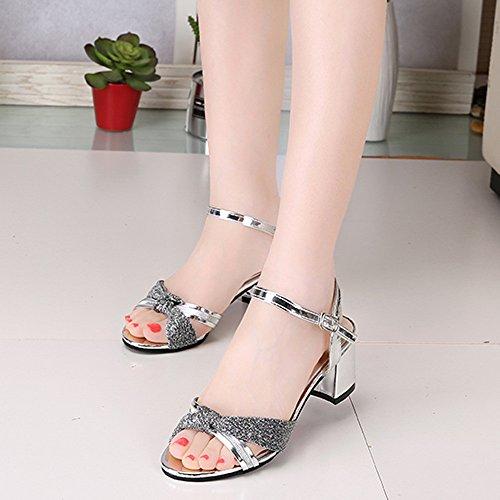 Sandales Femmes Argent Motif Été Mode Bohème Brillant Chaussures Moyen Vovotrade Flip Flop Mocassins Hg0W6gnq