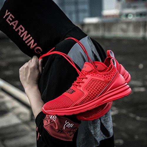 Ashion Mens Athlétique Chaussures De Sport Sport Marche Fitness Casual Maille Léger Respirant Sneakers Rouge