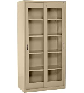 clearview tall storage cabinet with sliding clear doors color tropic sand