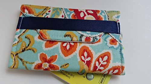Birth control ribbon case- Discrete pill holder- Orange/red flowers by LaviLor Bags