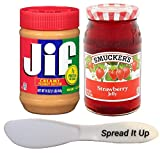 Jif Peanut Butter And Smuckers Jelly Spread It Up Bundle In a Gift Box (Creamy Peanut Butter-Strawberry Jelly)