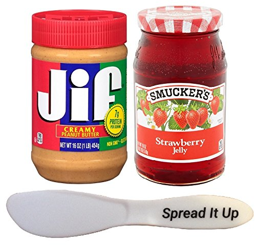 Jif Peanut Butter And Smuckers Jelly Spread It Up Bundle In a Gift Box (Creamy Peanut Butter-Strawberry Jelly) by Jif