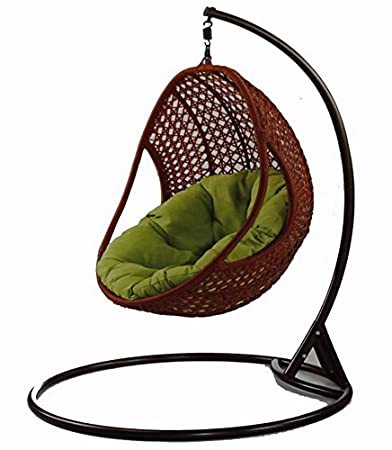 Virasat Furniture & Furnishing Outdoor/Indoor/Balcony/Garden/Patio/Hanging Swing Chair Of Bamboo With Cushion & Hook/Color (Brown)