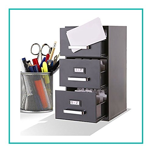 Small Portable File Cabinet 3 Card Holder Drawer Classic Design Home Office With Handles And Index Labels Organized Receipts Other Small Papers Cards Perfectly Sized Lightweight Black