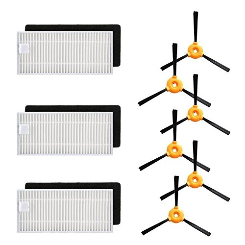 BBT(BAMBOOST) Accessories Parts for Ecovacs Deebot N79s Deebot N79 Robotic Vacuum Cleaner, 3 Set Filters,6 Side Brushes