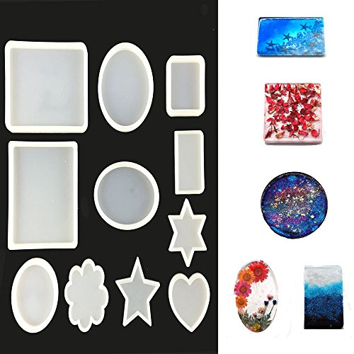 SES.CO 11 Shapes Silicone Coaster Molds,Large Resin Casting Mold for Making Crafting,DIY Resin Mould for Resin Epoxy,Pendant Jewelry Making,Candle Wax by SES.CO
