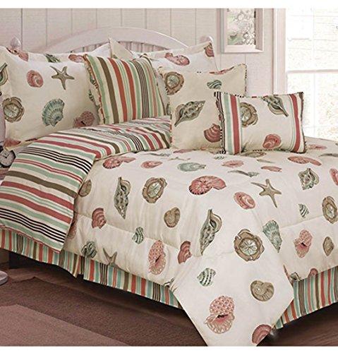 - Ashley Cooper 7-Pc Reversible Sea Shell Comforter Set, Aqua/Coral/Tan, Queen, 86