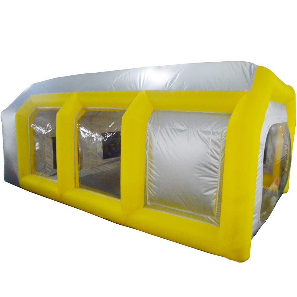 SAYOK Inflatable Paint Booth 23x16.4x9.85ft with 2 Blowers Inflatable Spray Booth with Filter System Portable Car/Door Paint Booth for Car Parking Tent Workstation(Yellow)
