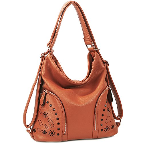 Tote Hobo Medium (IYAFFA Women Handbag Tote Hobo Purse Backpack Soft PU Leather Medium Size Brown)