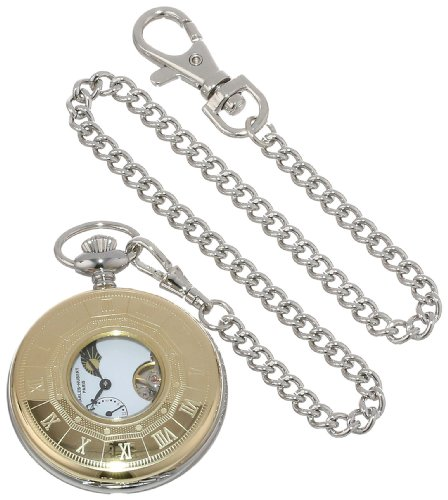 Charles-Hubert-Paris-Stainless-Steel-Two-Tone-Mechanical-Pocket-Watch