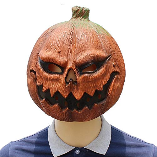 Wetietir Festival Mask Halloween Pumpkin Head Mask The Horror Funny Face Latex Dance Party Costume Plays The Role of a Cosmic Ghost Prop. Costume Mask ()