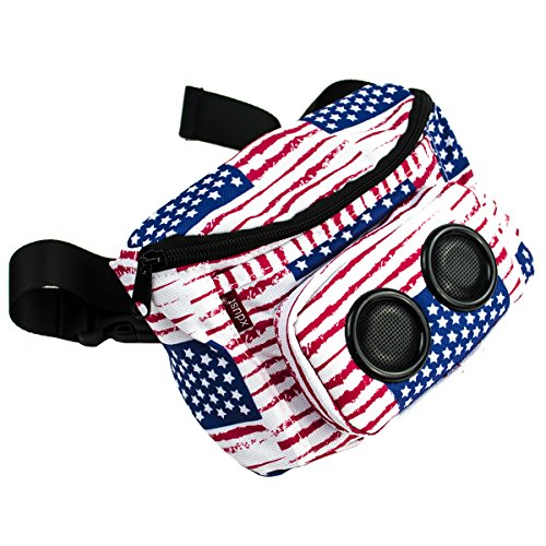 Xdust Mini Speakers Fanny Waist Pack With Wireless Bluetooth Speaker Hands Free Pocket Speakers Fanny Pack Phone Carrier for Hiking, Running, Shopping, Walking dogs,Eyg #NationalFlag