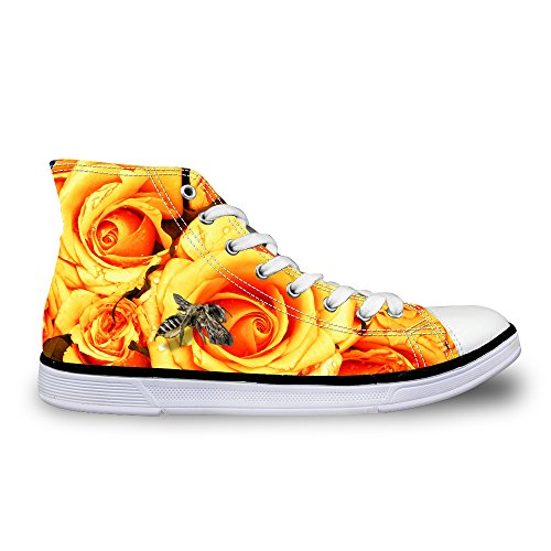 For U Diseñes Stylish Floral Print Mujeres Lace-up Beautiful High Top Cotton Fashion Sneaker Amarillo