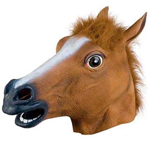 Funny Headgear (Horse Head Mask Animal Headgear Halloween Mask Makeup Party Horror Mask (Brown))