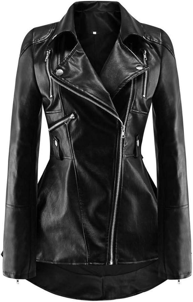 CHICFOR Womens Faux Leather Biker Motorbike Jacket Zipper PU Blazer Slim Fit Short Coat