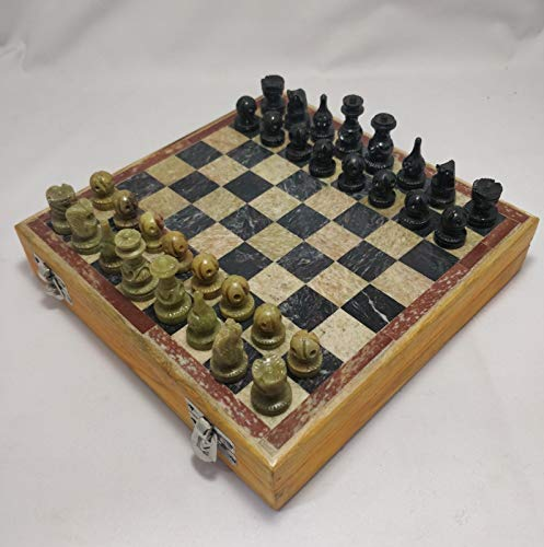 PH Artistic Handcrafted Indian Wooden Box and Stone Chess Set Pieces and Board Home Decorative Indoor Games 8X8 Inches