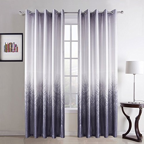 COFTY Minimalist Light Ppurle Forest Print Polyester Curtain Drapes 50Wx63L Inch (1 Panel)-Nickle Grommet for Bedroom | Living Room | Club | Restaurant Review