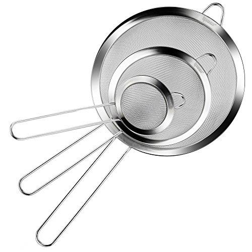 [Neue Version] IPOW Feinmaschig Küchensieb Set 7/12/18cm aus rostfreiem Edelstahl mit zwei Griffe