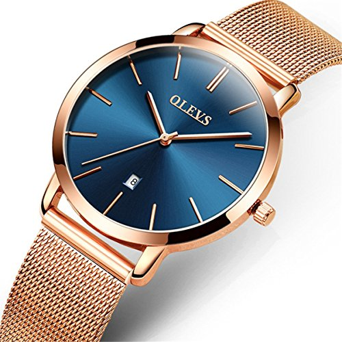 OLEVS Women Ultra Thin 6.5mm Quartz Rose Gold/Black Mesh Steel Wrist Watch with Free Adjust Screwdriver, Waterproof & Date (Rose Gold Steel Watch)