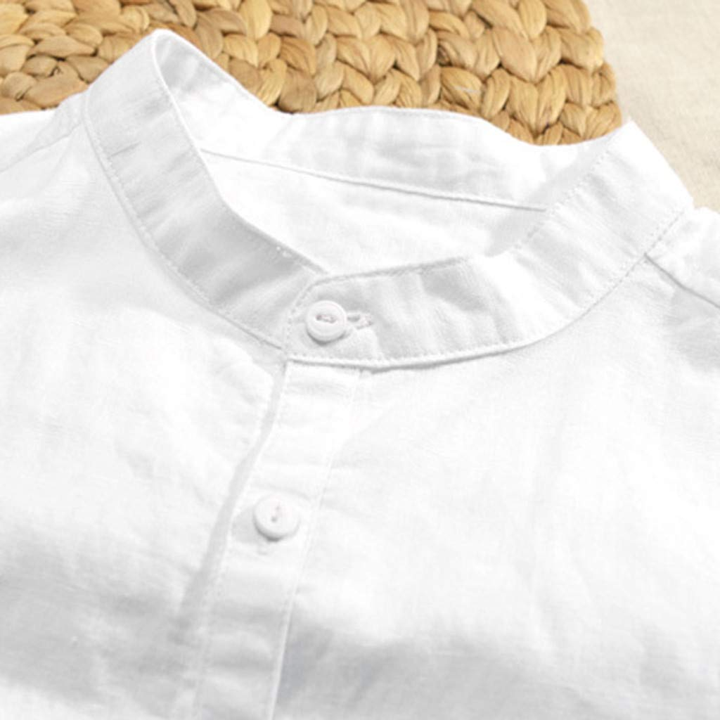 Mens Button Up Shirts Summer Solid Slim-Fit Short Sleeve Cotton Linen Tops by kaiCran