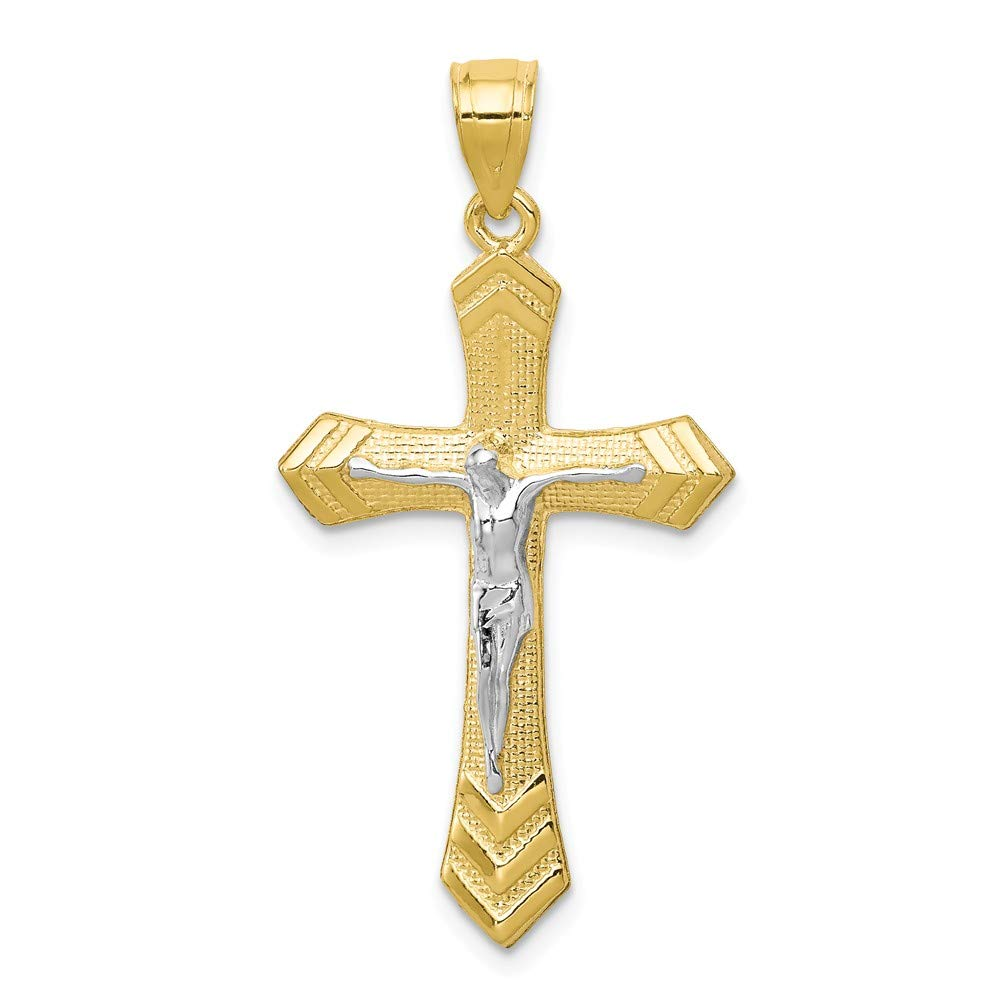 10k Yellow with White Rhodium Two-tone Gold Passion Crucifix Pendant
