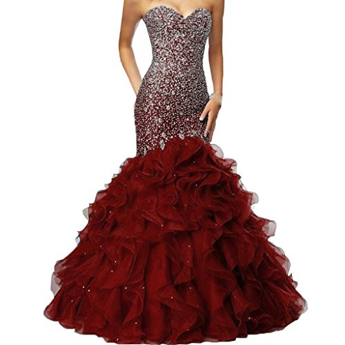Crystals Long Mermaid Ruffles Beaded Sweetheart Corset Formal Prom Evening Dresses Burgundy US 6