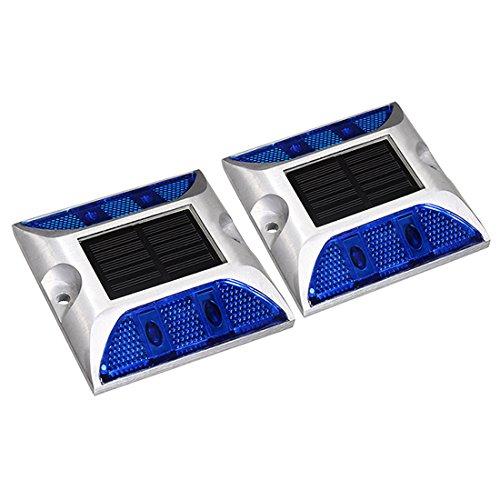 - uxcell 2pcs LED Solar Road Stud Light Marker Lighting Security Warning Lamp 4LED Blue