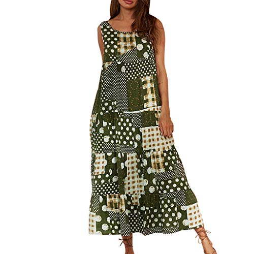 (Women Plus Size Vintage Dress Dot Print O Neck Sleeveless Summer Casual Maxi Dress)