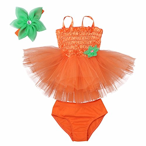 FEESHOW Baby Girls Halloween Costumes Pumpkin Tutu Dress with Bloomers Headband Set Orange 9-12 Months