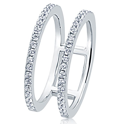 HB AMERICA Sterling Silver Round CZ Pave Set Two Row Knuckle Ring 8MM (Size 5 to 10), 9 (Pave Two Row Set)