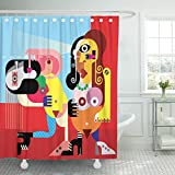 Emvency Shower Curtain Blue Abstract Two Beautiful Nude Women Dancing Modern Fine Red Dance Waterproof Polyester Fabric 72 x 72 inches Set with Hooks