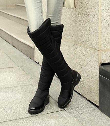 CHFSO Mid Fur Snow Heel Women's Boots Knee Lined Warm Wedge Solid Winter Trendy Waterproof Faux Black High rqrzXw6