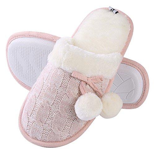 Aerusi Womens Knit Fuzzy Bedroom Slip Op Slipper Met Pom Pom & Fleece Voering Roze