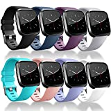 Tobfit 8 Pack Sport Bands Compatible with Fitbit Versa 2/Versa/Versa Lite/SE, Soft TPU Wristbands Accessories for Women Men