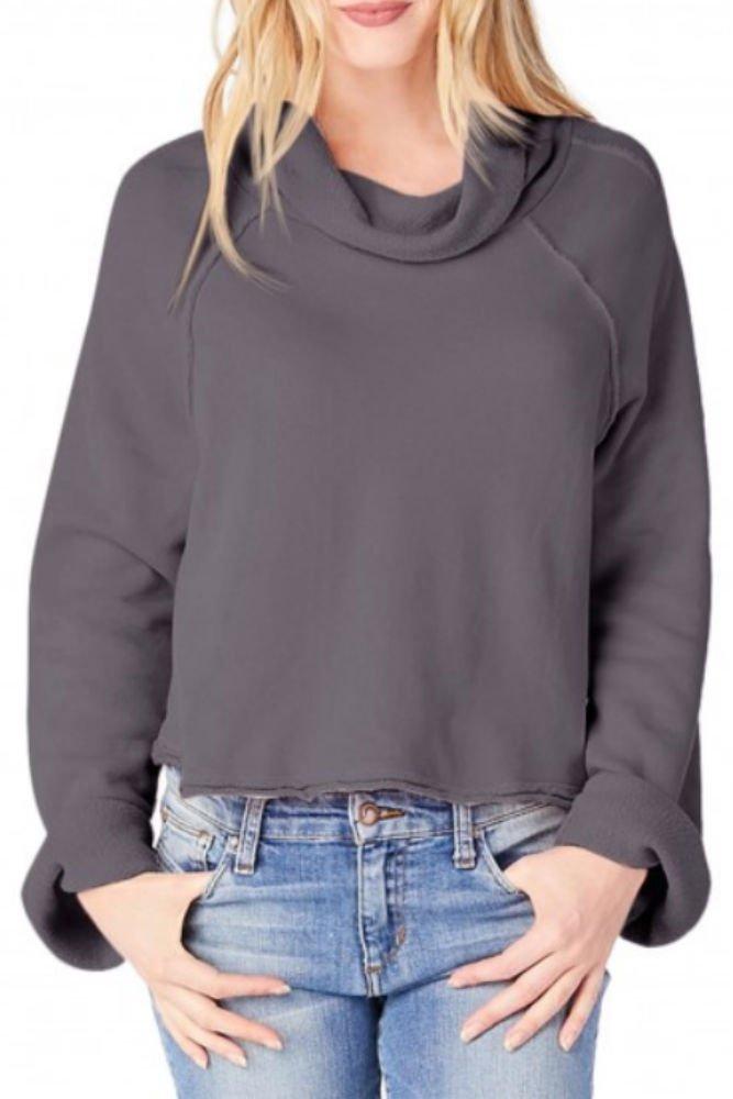 Michael Stars Women's Cloud Terry Long Sleeve Reversible Turtleneck Raglan Top, Oxide, S