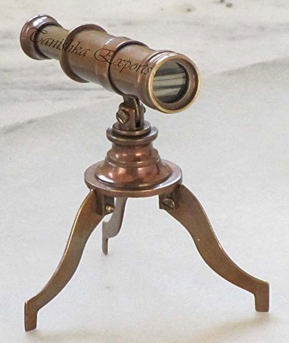 Nautical Brown Antique Finish Brass Telescope With Tripod Stand Collectible Marine Gift