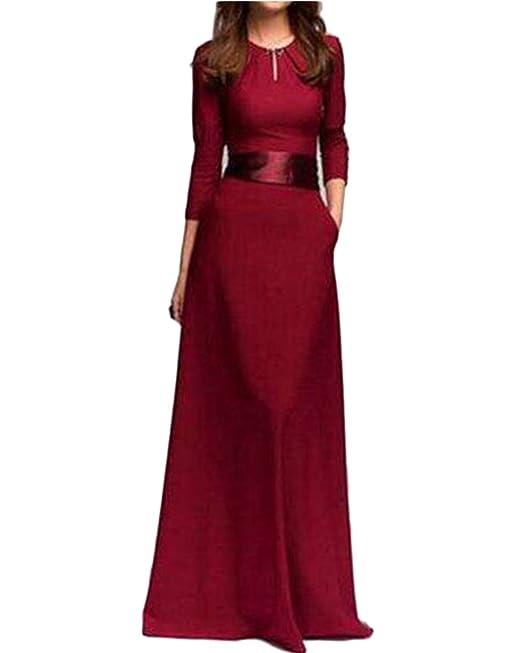 Mujer Elegant Largo Vestido Cuello Redondo Manga Larga Vestido Fiesta Para Bodas Vino Rojo L
