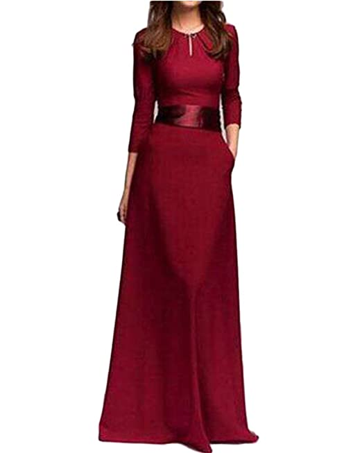 Mujer Elegant Largo Vestido Cuello Redondo Manga Larga Vestido Fiesta Para Bodas: Amazon.es: Ropa y accesorios