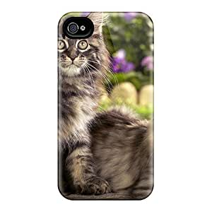 For Iphone 4/4s Tpu Phone Case Cover(beautiful Cats)