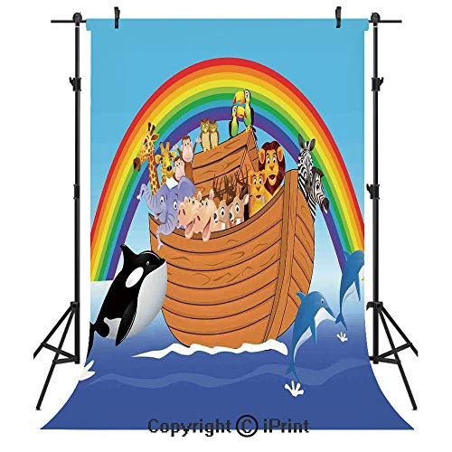 Noahs Ark Photography Backdrops,Noahs Ark with Funny Cute Animals Dolphins Swimming in Artistic Design Print,Birthday Party Seamless Photo Studio Booth Background Banner 5x7ft,Multicolor (Noahs Ark Back Drop)