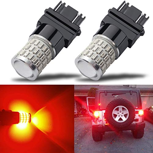 iBrightstar Newest 9-30V Super Bright Low Power Dual Brightness 3156 3157 3056 3057 LED Bulbs with Projector Replacement for Tail Brake Lights,Brilliant Red ()
