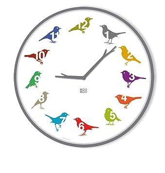 KOOKOO UltraFlat color, reloj de pared con 12 pájaros cantores, nativos, grabaciones originales de la naturaleza, dial llamativo, reloj con sensor de luz: ...