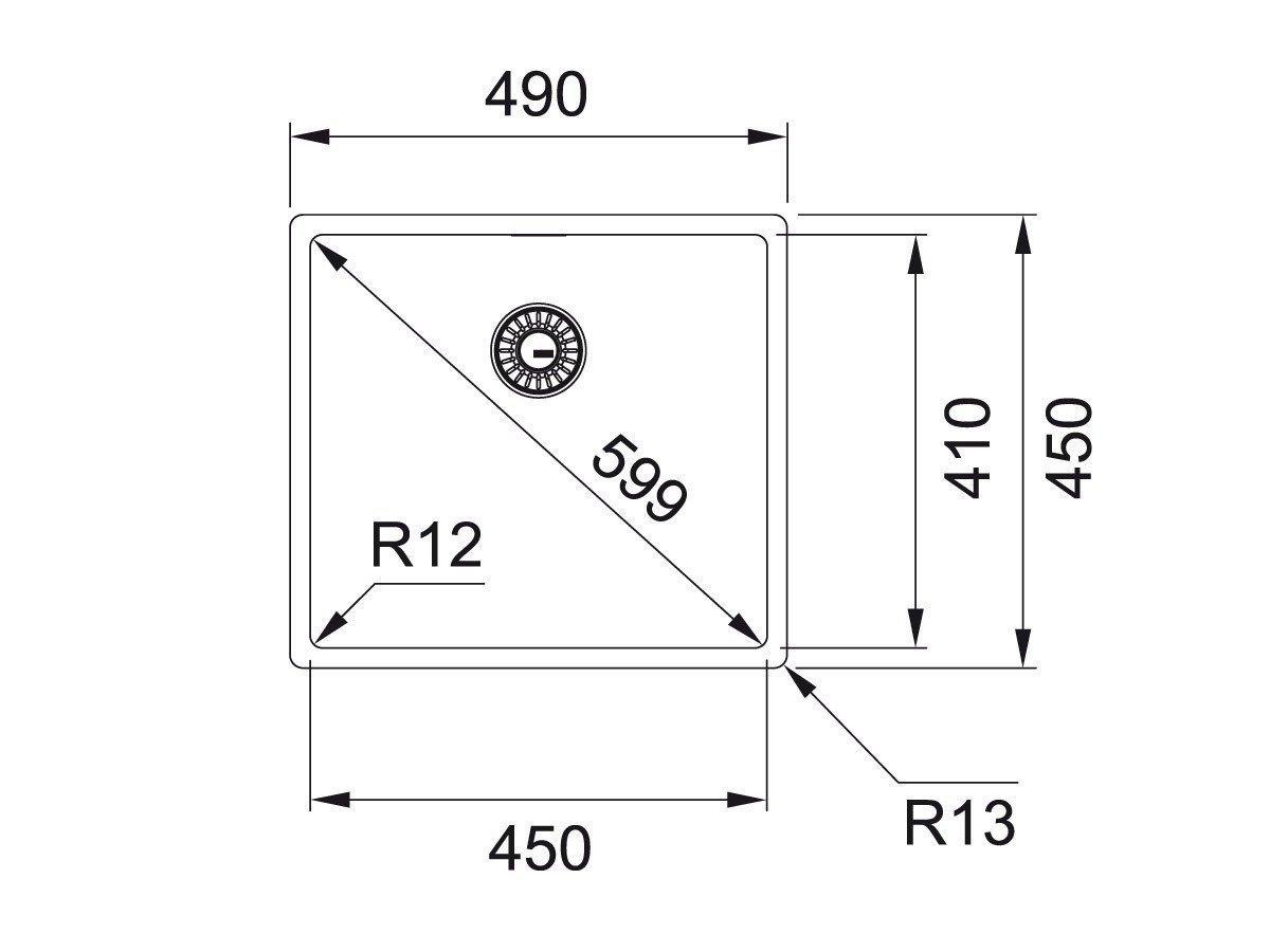 FRANKE BOX BXX 110-45 Sp/üle Edelstahl 122.0375.258 11012
