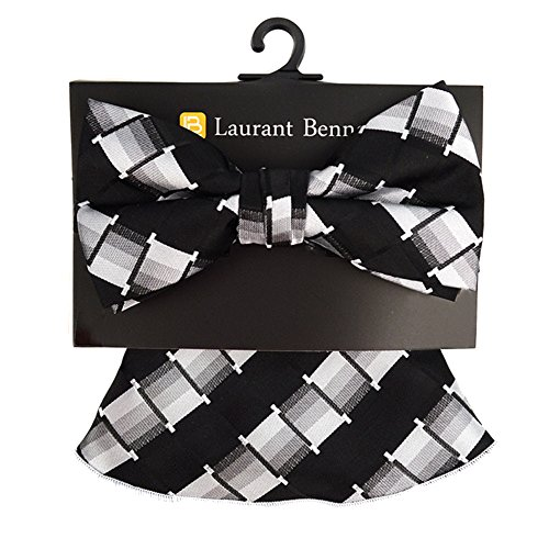 Men's Hipster Striped Geometric Pre Tied Bow Tie & Round Pocket Square Hankie Gift Set