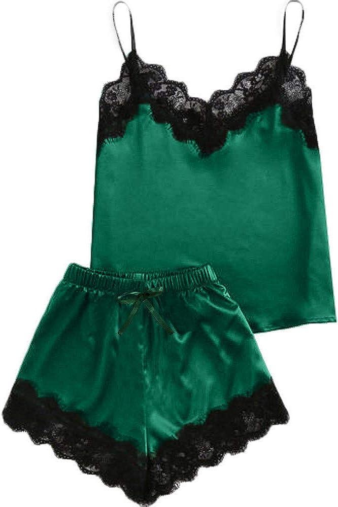 holitie Dessous Nachthemd Nachtw/äsche Frauen Sleeveless Strap Lace Trim Satin Cami Top Pyjama Sets