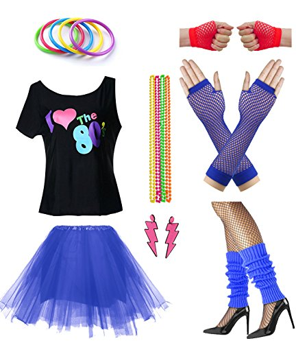 Women I Love The 80's Disco 80s Costume Outfit Accessories Set (S/M, -