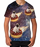 Kids Graphic T Shirt Boys Top Pug Donut Riders in Space Youth Tee Shirt