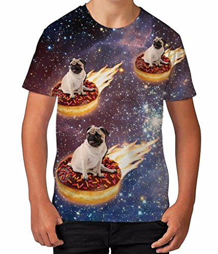 BANG TIDY CLOTHING Kids Graphic T Shirt Boys Top Pug Donut Riders In Space Youth Tee Shirt,White,7-8 -