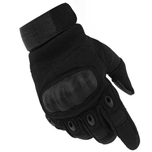 Valpeak Mens Military Tactical Gloves Hard Knuckle Gloves for Motorcycle Shooting Airsoft Riding Working Women (Black, L)
