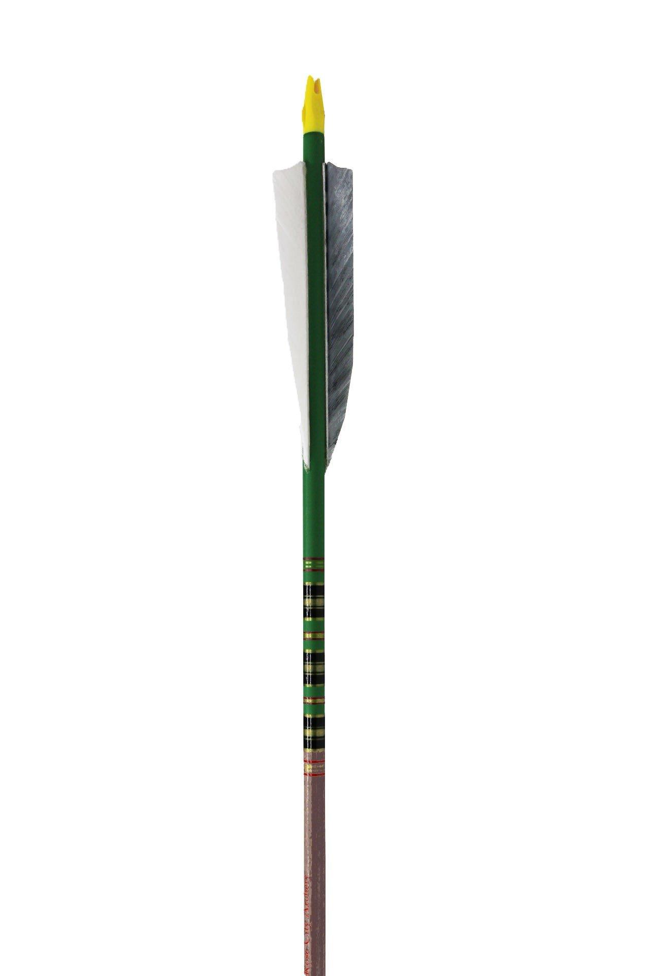 Rose City Archery Port Orford Cedar Fancy Arrows with 4'' Shield Fletch (12 Pack), Green/Walnut